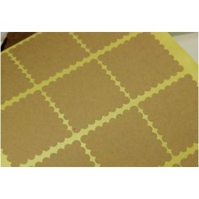 JEMPAK UK 60 pieces of Square scalloped edge blank Kraft sticky labels (3.5cm x 3.5cm)