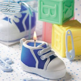 Blue baby sneakers candle in clear PVC box with ribbon (Pack of 10)