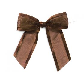 "1½"" Pre-Tied Organza Sheer Bows with satin edge - Chocolate (Pack of 12)"