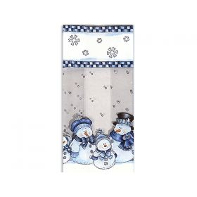Pack of 10 Snowman cellophane bags (10cm x 5cm x 23cm)