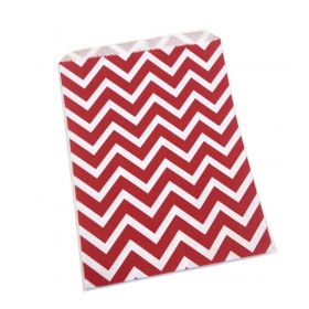 Pack of 20 Chevron Paper Merchandise sweet/party/gift/favour Bags - Red (22cm x 28cm)