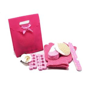 5 piece beauty set in a hot pink tab top box gift bag (exfoliating gloves, pumice stone, emery board, toe seperator & facial sisal pad)