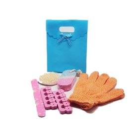 5 piece beauty set in a Turquoise blue tab top box gift bag (exfoliating gloves, pumice stone, emery board, toe seperator & facial sisal pad)