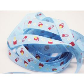 5M x 15mm baby bottle & teat grosgrain ribbon - Baby blue