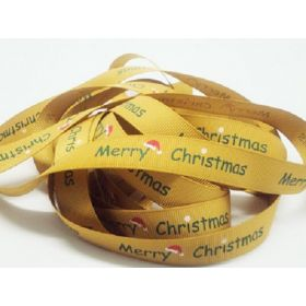 5M x 15mm grosgrain Merry Xmas ribbon - Gold