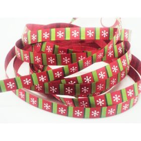 5M x 10mm single face satin snow flakes xmas ribbon - Red/green