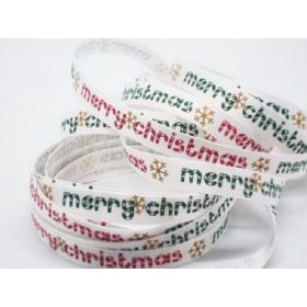 5M x 10mm single face satin merry xmas ribbon - white