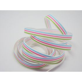 5M x 10mm multi-coloured grosgrain stripe pattern ribbon - green/pink/blue on white background