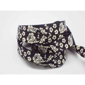 5M x 15mm flower pattern ribbon - white on black background