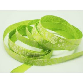5M x 10mm flower pattern ribbon - white on lime green background