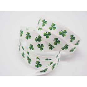 5M x 15mm grosgrain St Patrick's day Shamrock ribbon  - design on white background