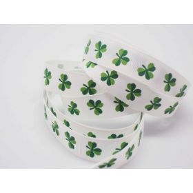 5M x 10mm grosgrain St Patrick's day Shamrock ribbon  - design on white background