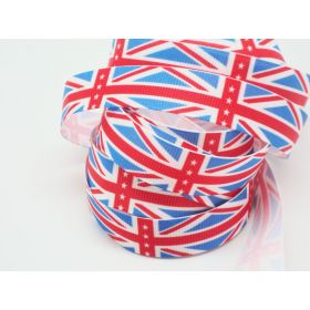 5M x 15mm Classical British flag/Union Jack Grosgrain ribbon - Royal blue/Red