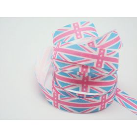 5M x 15mm Classical British flag/Union Jack Grosgrain ribbon - Baby Blue/Baby pink