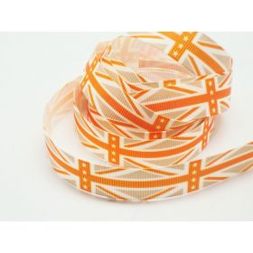 5M x 15mm Classical British flag/Union Jack Grosgrain ribbon - Orange/Beige