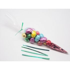 "Pack of 25 Cone shaped cellophane sweets / candy / favour / gift bags (12"" x 6"") with 4"" green metallic twist ties"