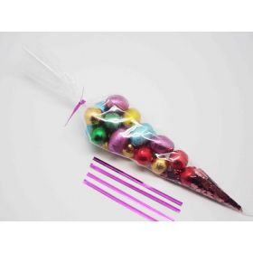 "Pack of 25 Cone shaped cellophane sweets / candy / favour / gift bags (12"" x 6"") with 4"" pink metallic twist ties"