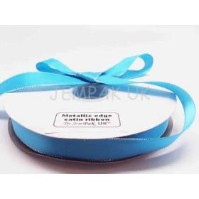 5M x 22mm Silver metallic edge satin ribbon - Turquoise blue