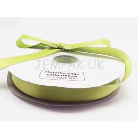 5M x 22mm Silver metallic edge satin ribbon - Apple Green