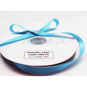 5M x 15mm Silver metallic edge satin ribbon - Turquoise blue