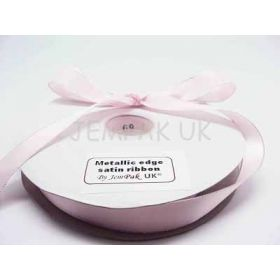 5M x 22mm Silver metallic edge satin ribbon - Baby Pink