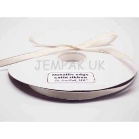 5M x 10mm Silver metallic edge satin ribbon - Ivory