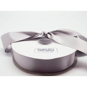 5M x 38mm Double face satin ribbon - Silver