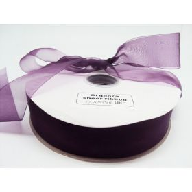 5M x 38mm Sheer ribbon - Purple