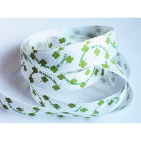 5M x 10mm grosgrain St Patrick's day print ribbon  - design on white background