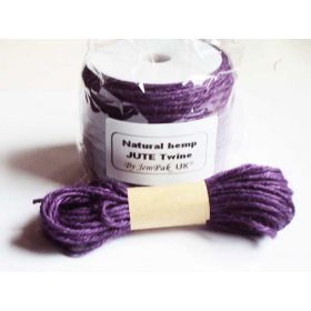JEMPAK UK 10M x 2mm thick PURPLE natural Hemp Jute Twine rope