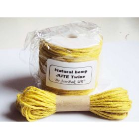 JEMPAK UK 10M x 2mm thick YELLOW natural Hemp Jute Twine rope