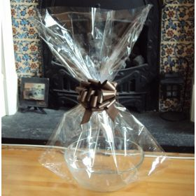 "JEMPAK UK 24"" x 30"" EXTRA LARGE cellophane basket bags with BROWN pull bow  (Pack of 1)"