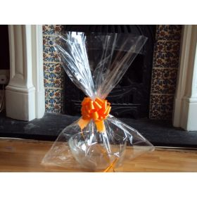 "JEMPAK UK® 20"" x 30"" LARGE cellophane basket bags with ORANGE pull bow (Pack of 1)"