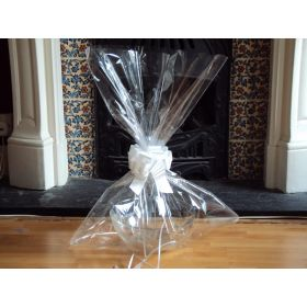 "JEMPAK UK 24"" x 30"" EXTRA LARGE cellophane basket bags with SILVER pull bow (Pack of 1)"