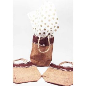 Natural Burlap/Hessian tote bag/gift bag with Island dots printed tissue paper (12cm x 8cm x 23cm)