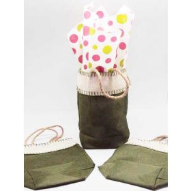 Green leaf Burlap/Hessian tote bag/gift bag with Festive Xmas dots printed tissue paper (12cm x 8cm x 23cm)