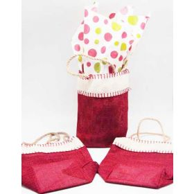Deep red Burlap/Hessian tote bag/gift bag with Festive Xmas dots printed tissue paper (12cm x 8cm x 23cm)
