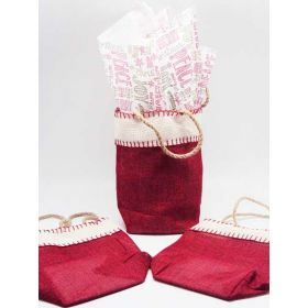Deep red Burlap/Hessian tote bag/gift bag with chalkboard xmas wishes printed tissue paper (12cm x 8cm x 23cm)