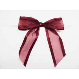 "1½"" Pre-Tied Organza Sheer Bows with satin edge - Burgundy (Pack of 12)"