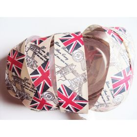 5M x 25mm Vintage style British flag/Union Jack Fabric/Satin ribbon - Cream