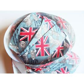 5M x 25mm Vintage style British flag/Union Jack Fabric/Satin ribbon - Blue