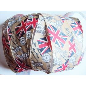 5M x 25mm Vintage style British flag/Union Jack Fabric/Satin ribbon - Brown