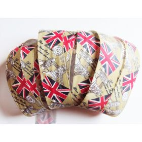 5M x 25mm Vintage style British flag/Union Jack Fabric/Satin ribbon - Green