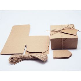 Pack of 10 BROWN KRAFT Gift/favour boxes with hinged lid (10cm x 10cm x 5cm). Jute string & kraft tags included