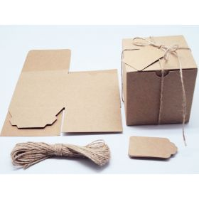 Pack of 10 BROWN KRAFT Gift/favour boxes with hinged lid (10cm x 10cm x 10cm). Jute string & kraft tags included