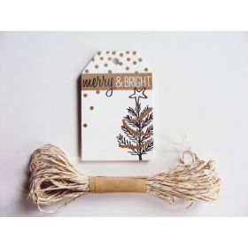 Pack of 10 Merry Christmas Manger Printed Gift tags with Cream & Gold Baker's twine - (6cm x 9cm)