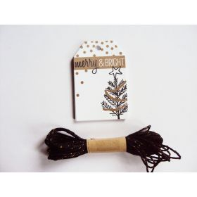 Pack of 10 Merry Christmas Manger Printed Gift tags with Black & Gold Baker's twine - (6cm x 9cm)
