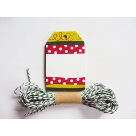 Pack of 10 Christmas Stripe Printed Gift Tags with Green Baker's twine - (6cm x 9cm)