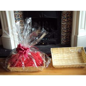 DIY hamper kit containing Medium Rectangular Bamboo Basket Tray, cellophane basket bag, RED pull bow and Xmas paper shred
