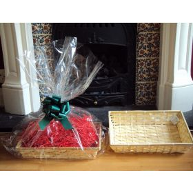 DIY hamper kit containing small Rectangular Bamboo Basket Tray, cellophane basket bag, GREEN pull bow and Xmas paper shred